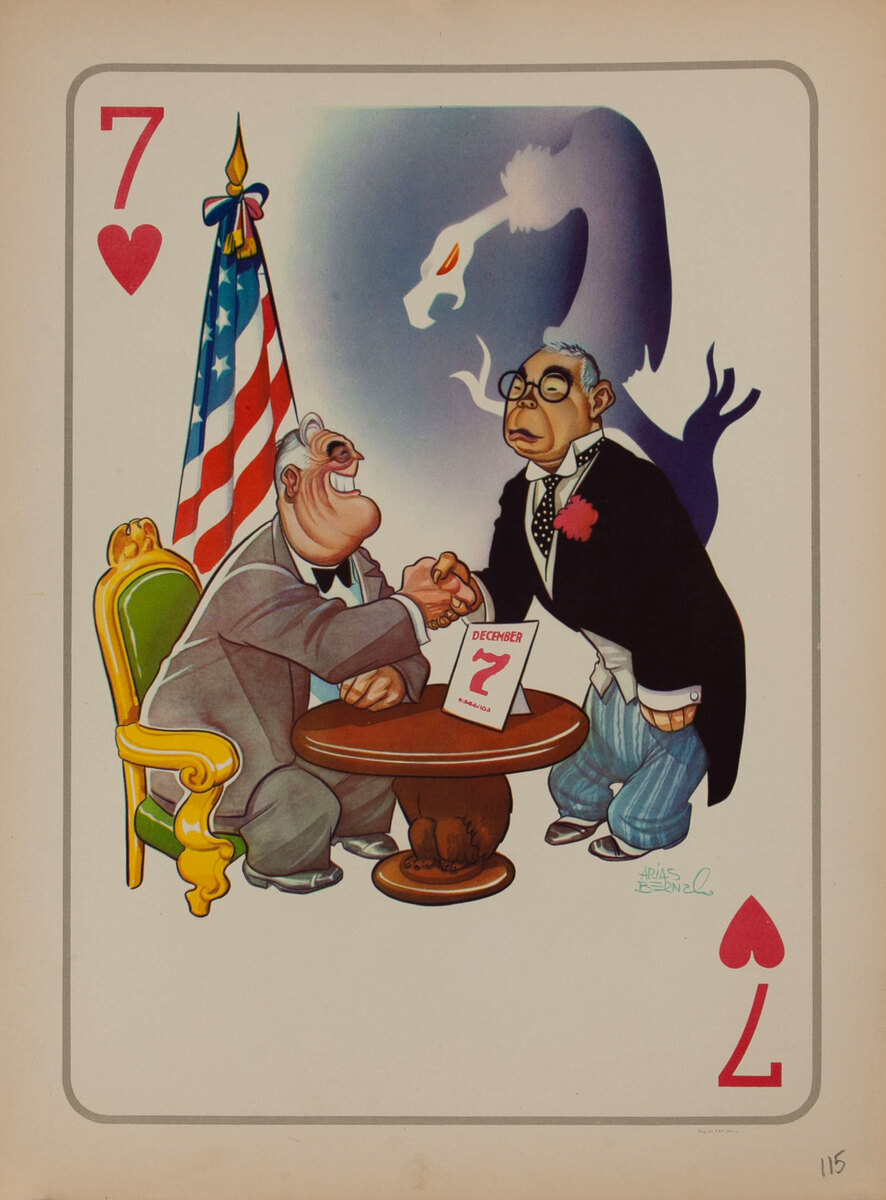 Roosevelt Accepts Japan's Surrender WWII Satire Playing Card