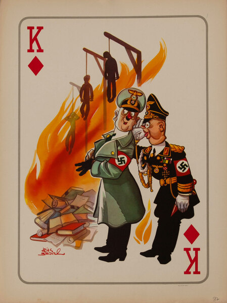 King of Diamonds Destruction of books and Jews. WWII Satire Playing Card
