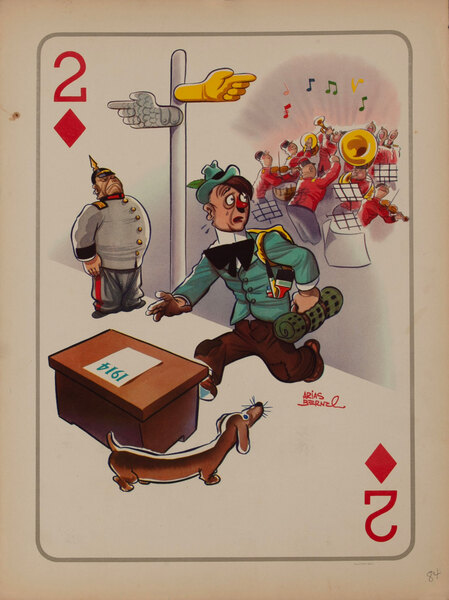 2 Diamonds - Hitler in 1914 Two Paths to Germany or Austria? WWII Satire Playing Card