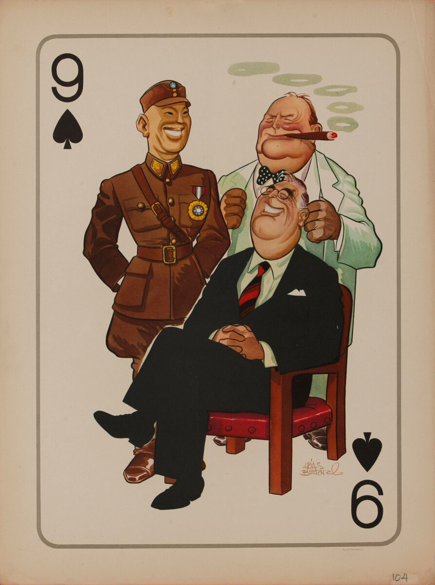 WWII Satire Playing Card - 9 Spades Roosevelt, Churchill and Chiang Kai Shek