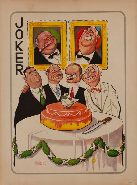 WWII Satire Playing Card - Churchill and Roosevelt portraits