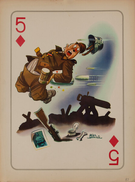 WWII Satire Playing Card - 5 of Diamonds