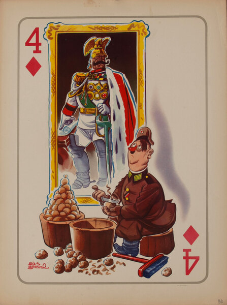 WWII Satire Playing Card - 4 of Diamonds