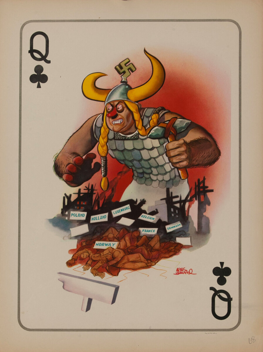Queen of Clubs WWII Satire Playing Card - Hitler as Valerie