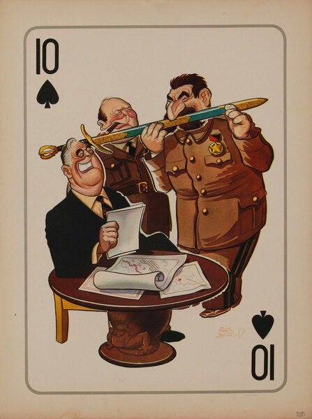 10 Spades WWII Satire Playing Card - Churchill Stalin Roosevelt