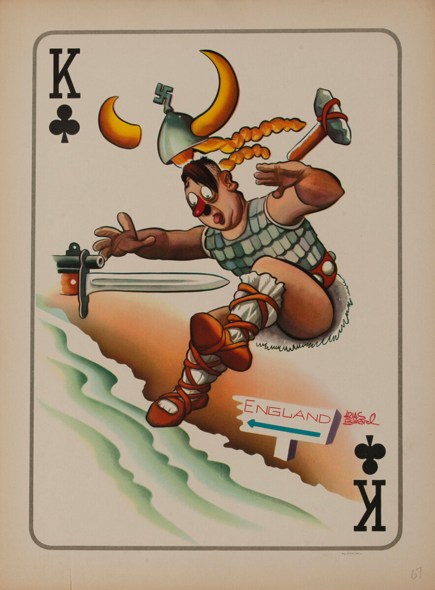 King of Clube WWII Satire Playing Card - Adolf Hitler as a Valkyrie