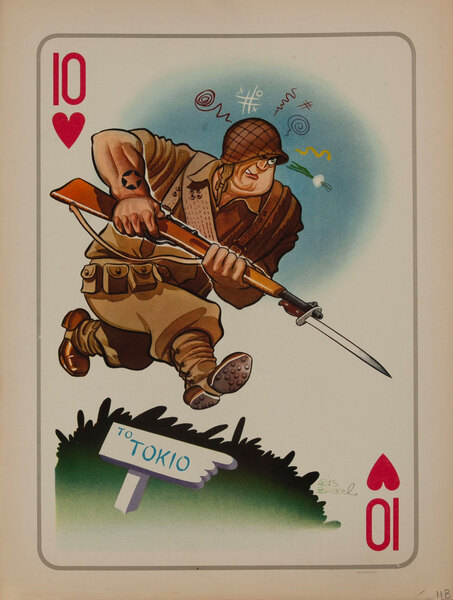 10 Hearts WWII Satire Playing Card - US GI on the raod to Tokio