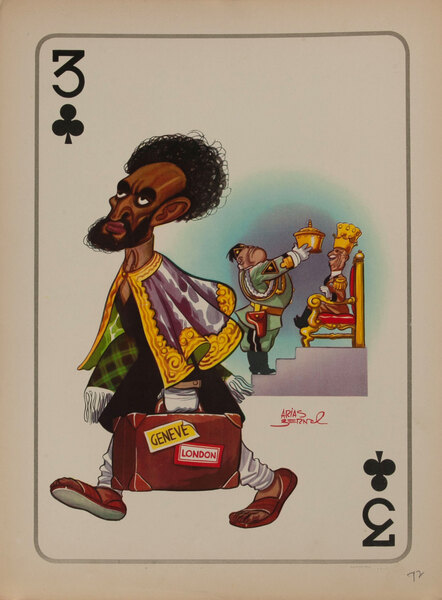 3 CLubs WWII Satire Playing Card -Haile Selassie