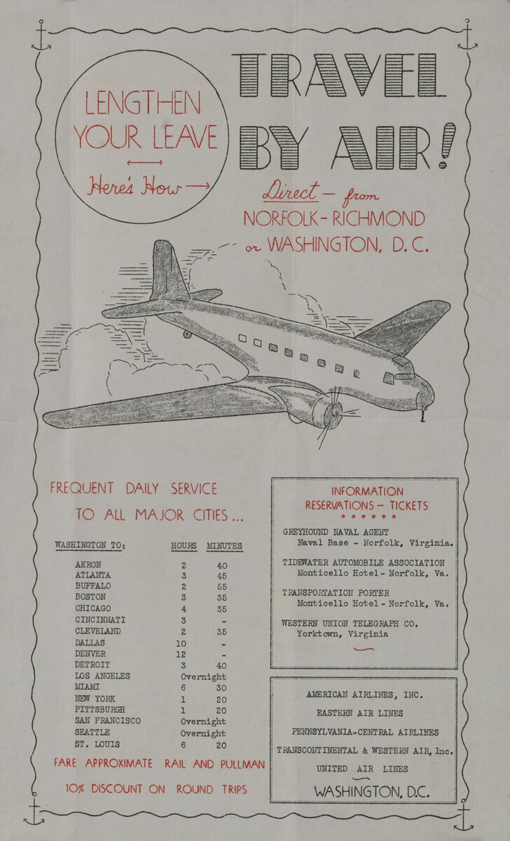 Lengthen Your Leave Travel By Air WWII Homefront Poster
