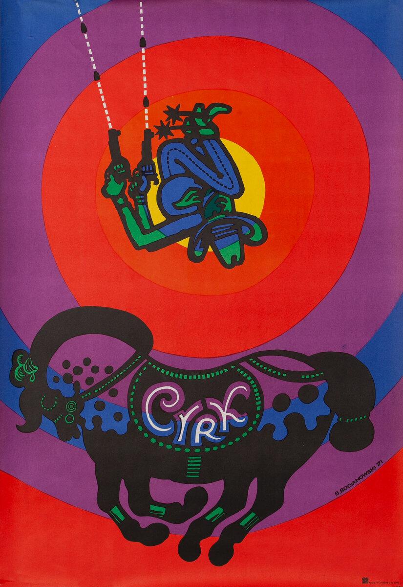Cyrk Original Polish Circus Poster,  Bare Back Horse Rider