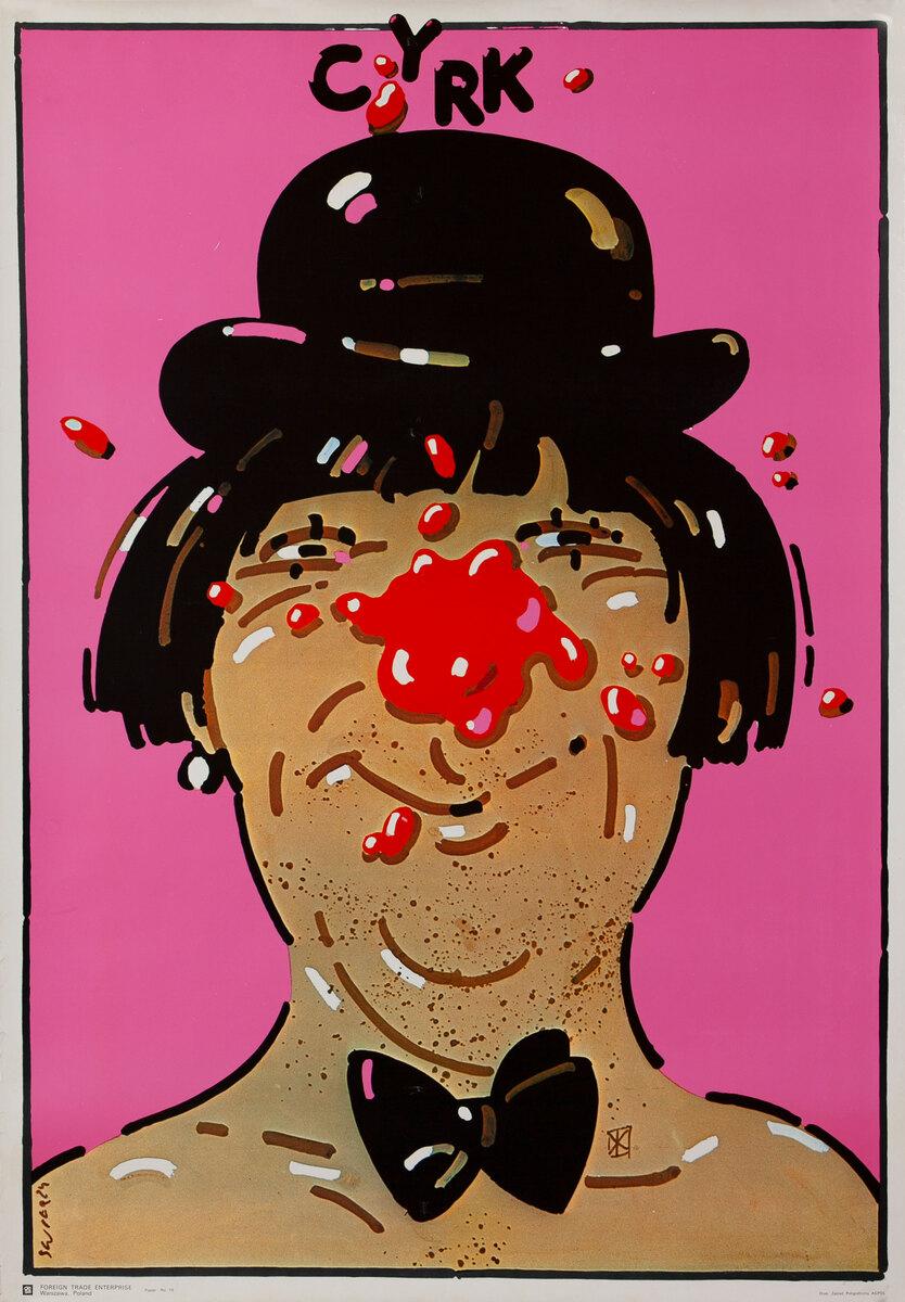Cyrk Original Polish Circus Poster, Pink Clown