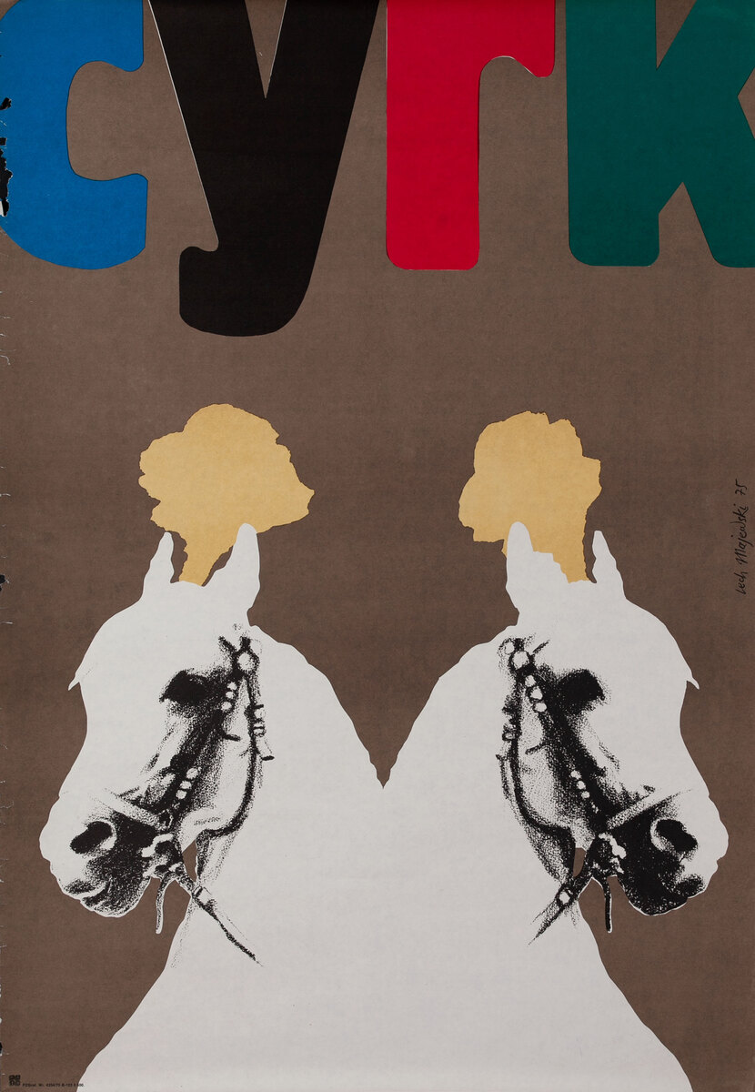 Cyrk Original Polish Circus Poster, 2 Horses
