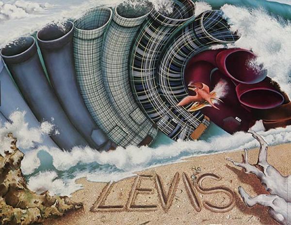 Levi's Pants Original Advertising Poster ocean waves