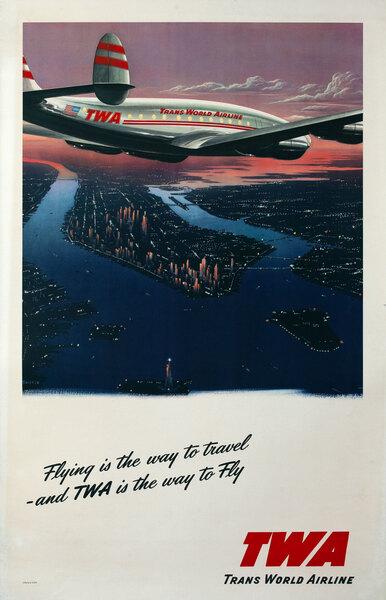 TWA Twilight over lower Manhattan Travel Poster