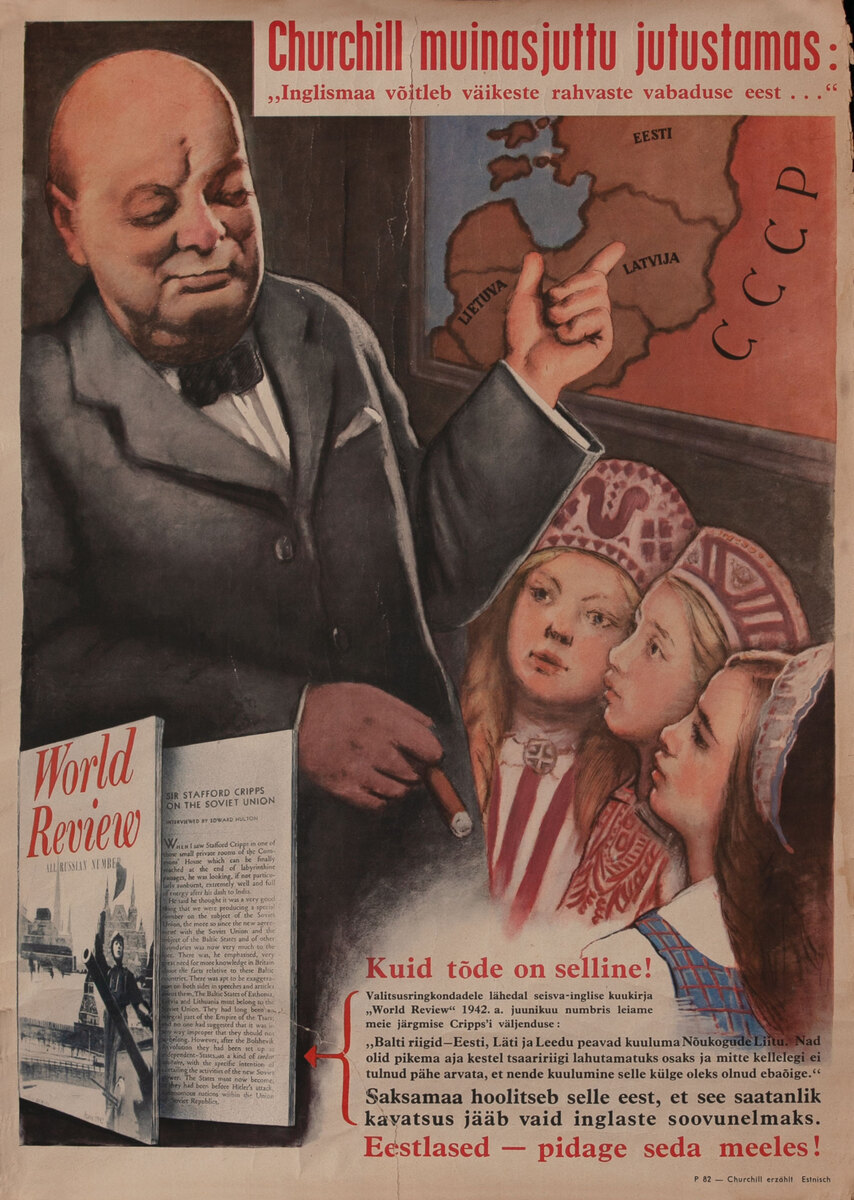 German anti-Churchill WWII Estonian Poster  - Churchill Telling a Fairy Tale