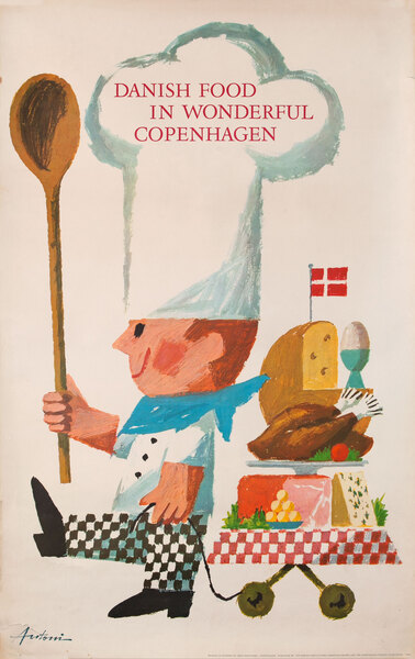 Danish Food in Wonderful Copenhagen Danish Travel Poster
