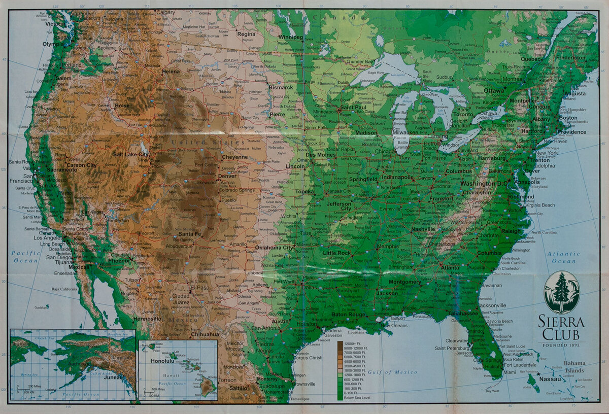 Sierra Club elevation map of the United States