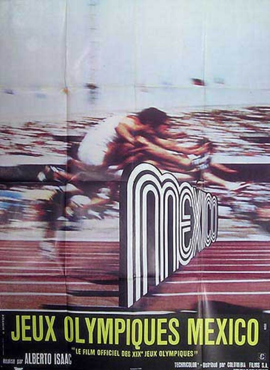 Jeux Olympiques Mexico  Hurdles Original Mexico City Olympics Movie Poster