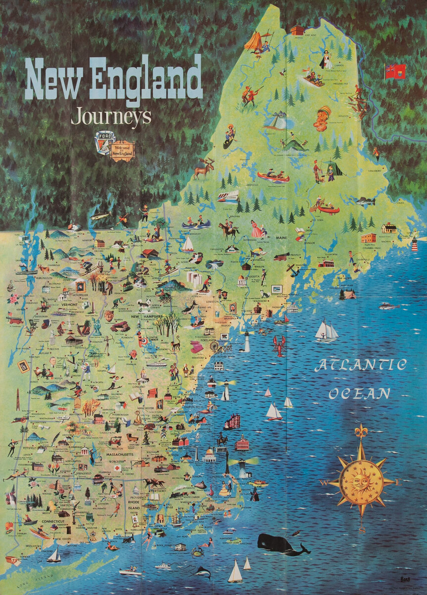 Ford Motors New England Journeys Promotional Map