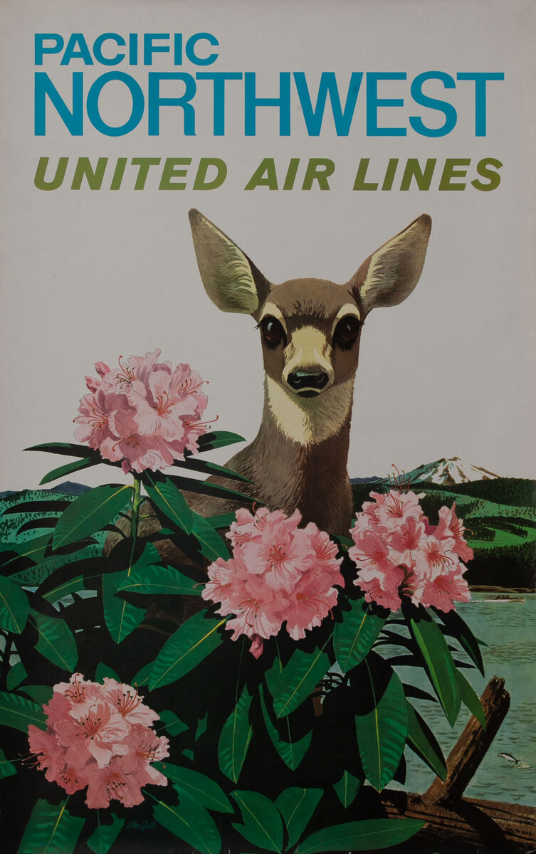 United Air Lines Travel Poster, Pacific Northwest Deer (blue type)