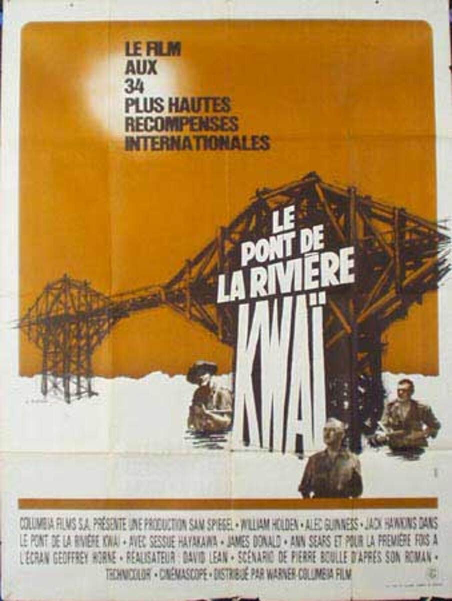 Bridge on the River Kwai French Release Vintage Original Movie Poster