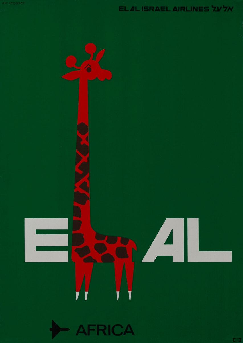 El AL Israel Airlines Travel Poster, Africa Giraffe