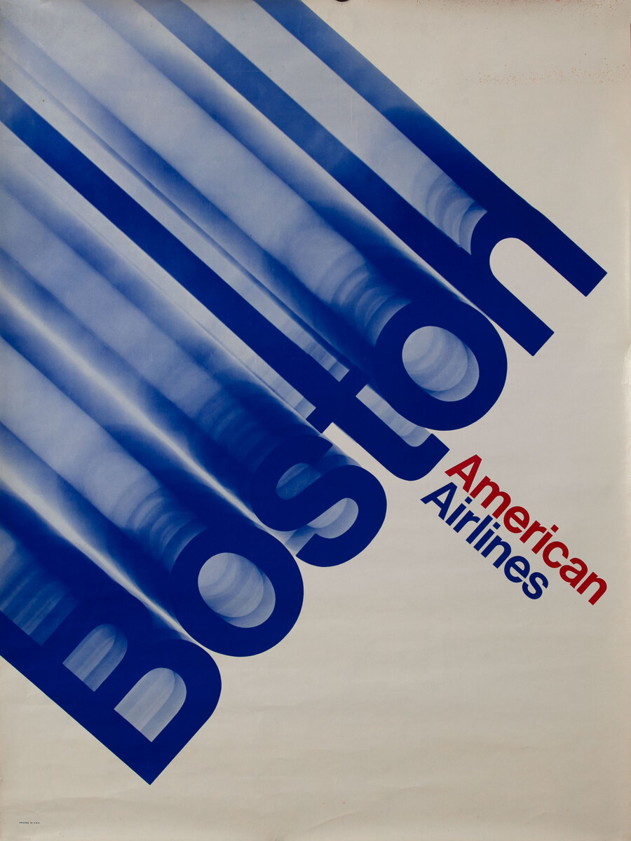 American Airlines Boston, typography Travel Poster
