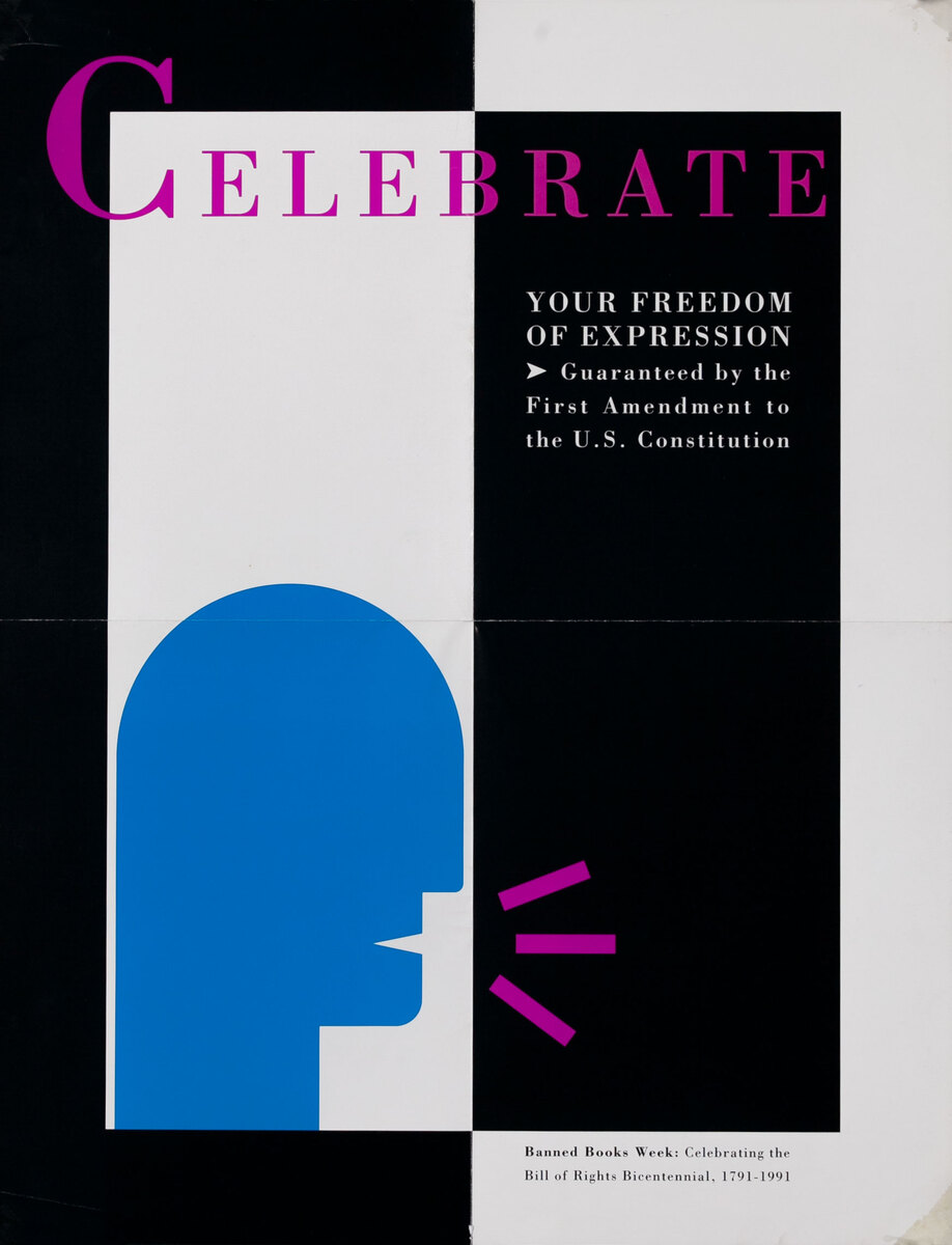 Banned Book Week Poster Celebrate Your Freedom of Expression - Head