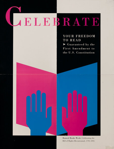 Banned Book Week Poster Celebrate Your Freedom to Read -  Hands