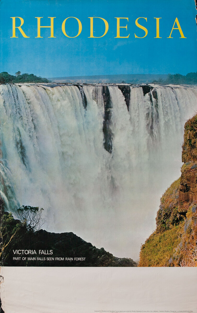 Rhodesia Victoria Falls - Part of the Main Falls Seen from Rain Forest