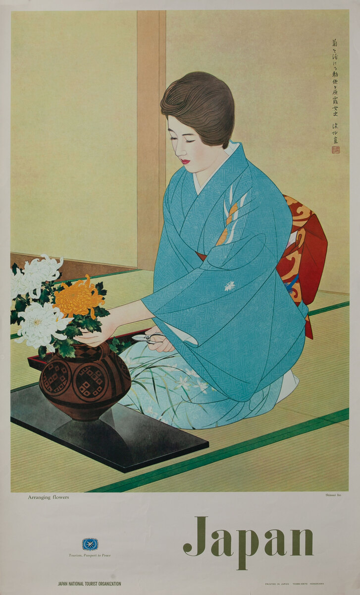 Arranginig Flowers - Japan National Tourist Organization Poster