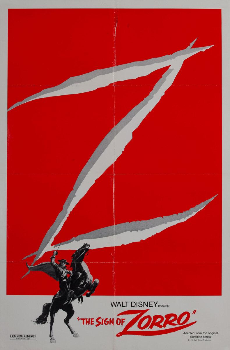 Walt Disney's The Sign of Zorro 1 Sheet Movie Poster R78