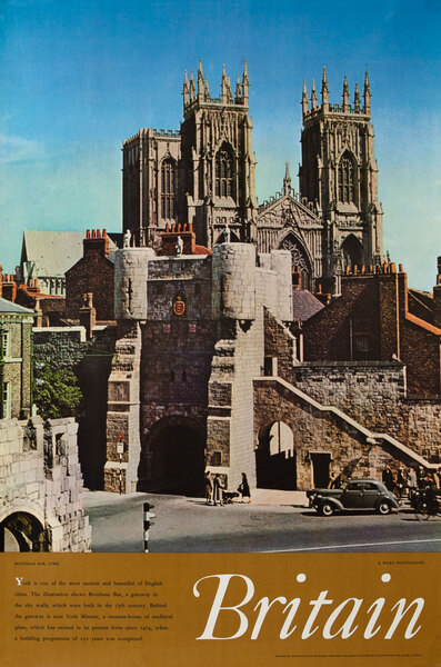 Bootham Bar, York British Travel Poster