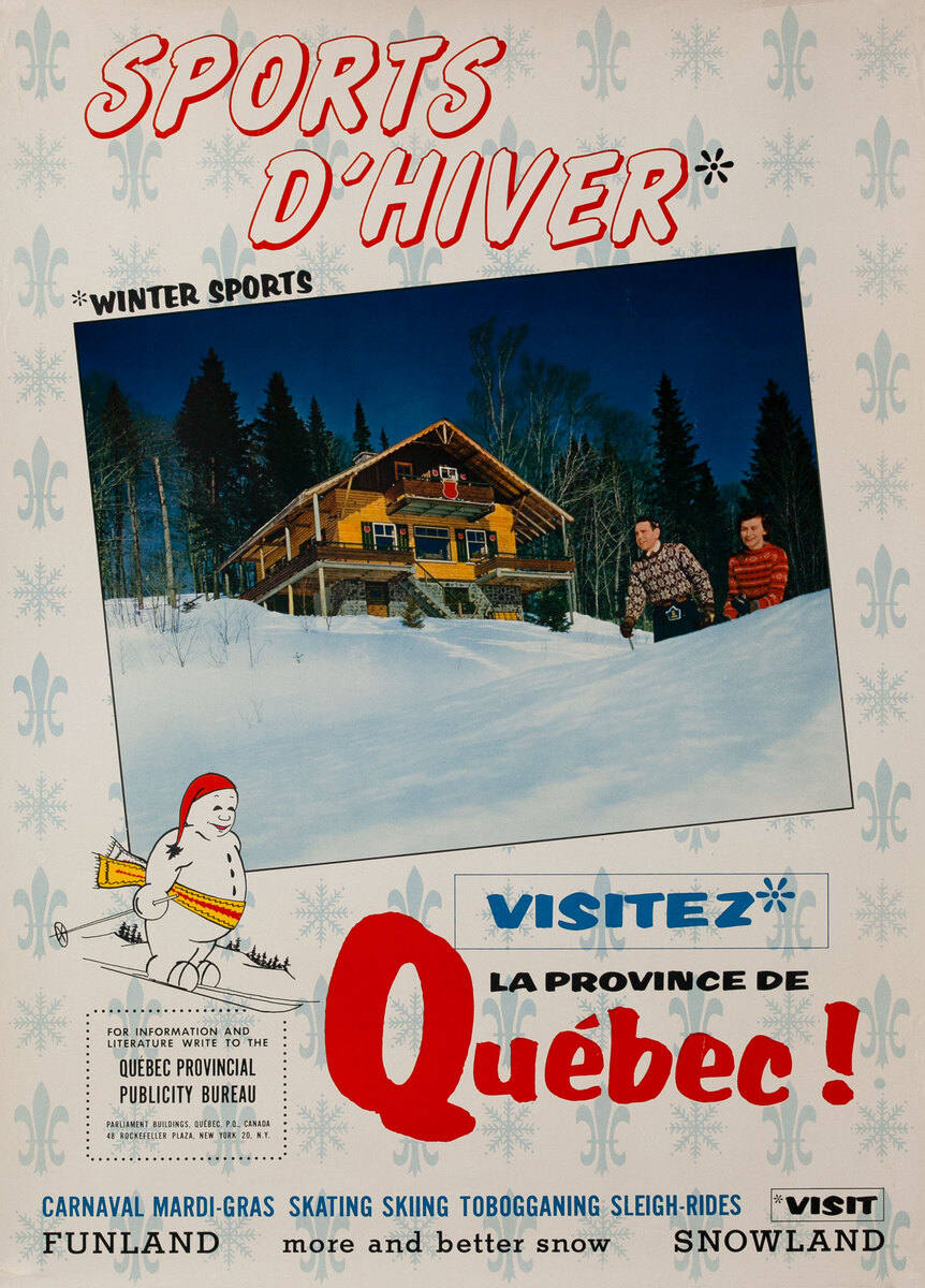 Sports D'Hiver Winter Sports Vizitez Quebec! Canadian Ski Poster