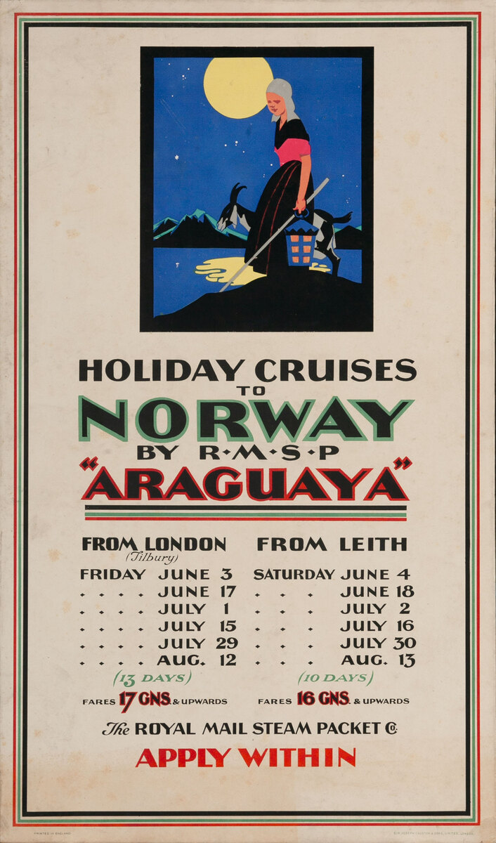 Holiday Cruises to Norway By RMSP Araguaya Royal Mail Steam Packet Poster