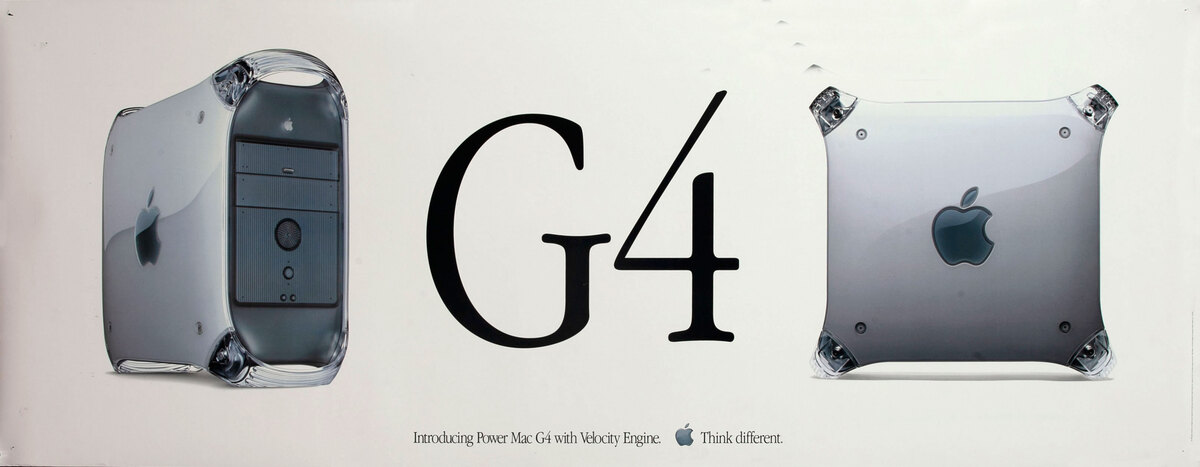 Apple Computer Poster G4 Introducing Power Mac G4 with Velocity Engine - Think Different.