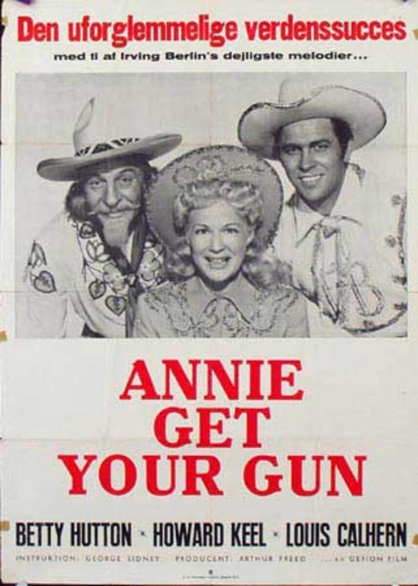 Annie Get Your Gun Original Vintage Movie Poster Swedish Release