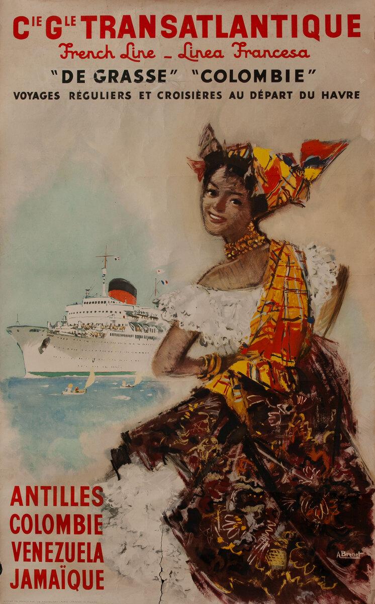 Cie Gle Transatlantique French Line Antilles Colombie  Venezuela Jamaique