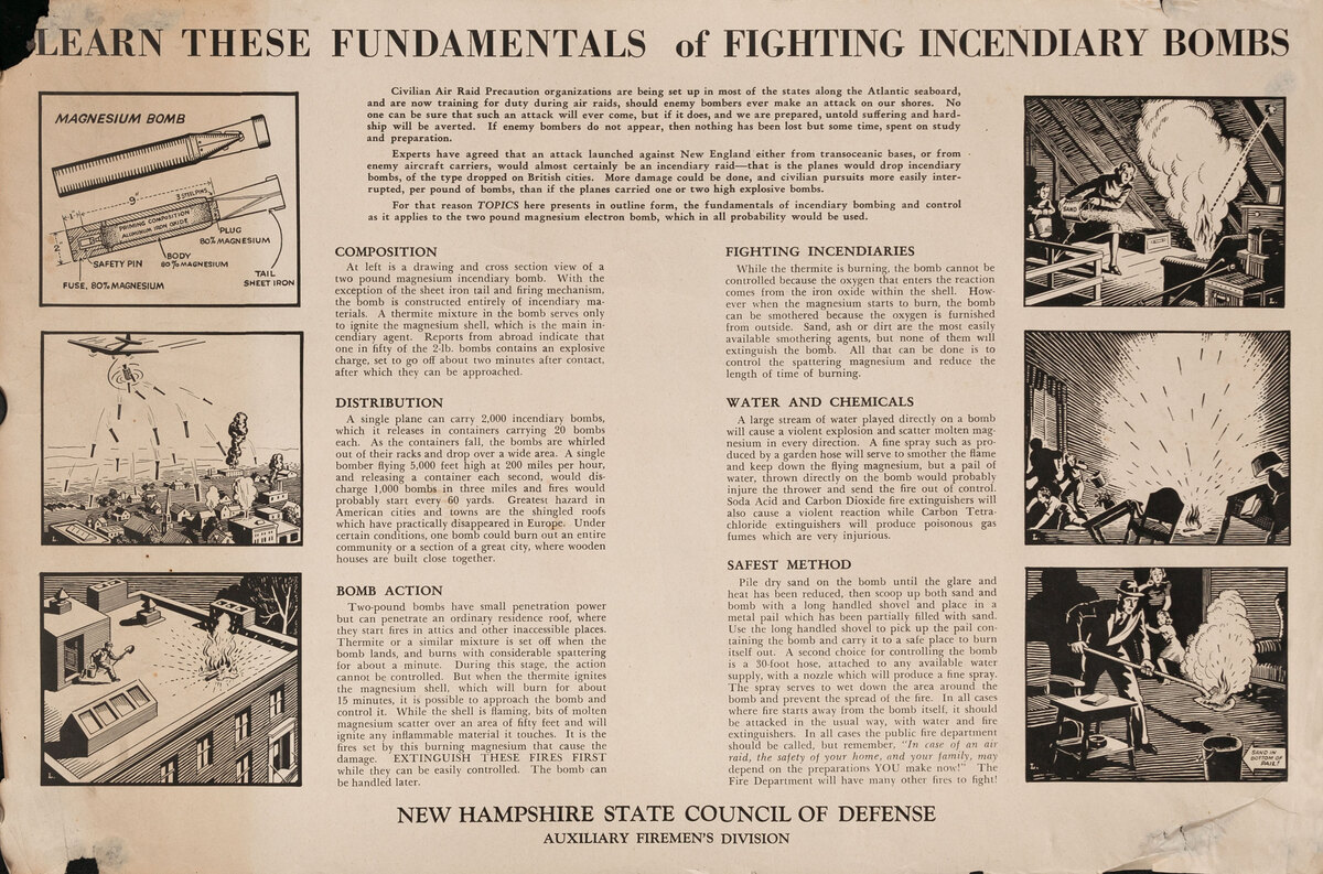 Learn These Fundamentals or Fighting Incendiary Bombs - WWII Homefront Poster