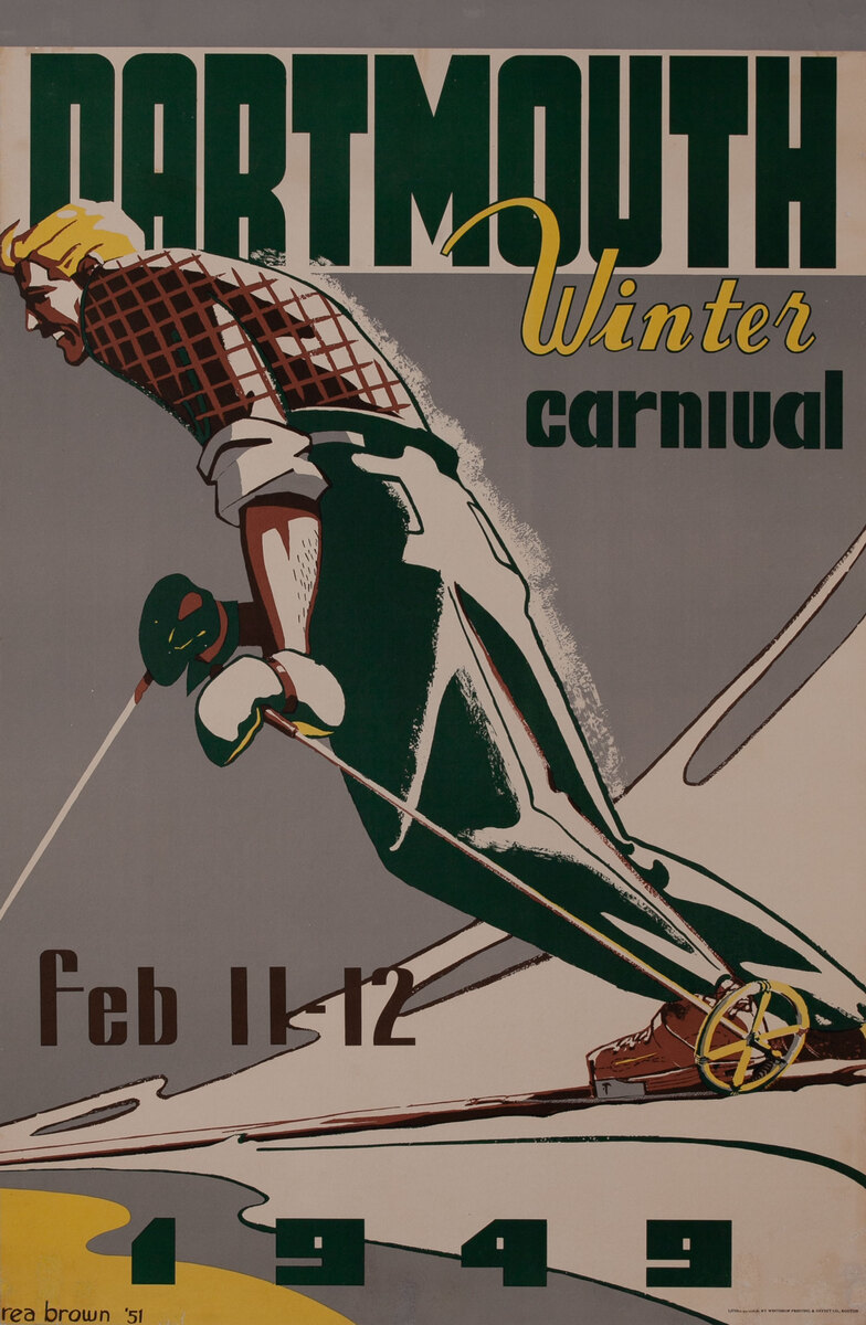 Dartmouth Winter Carnival, Feb. 11-12, 1949 Original Ski Poster