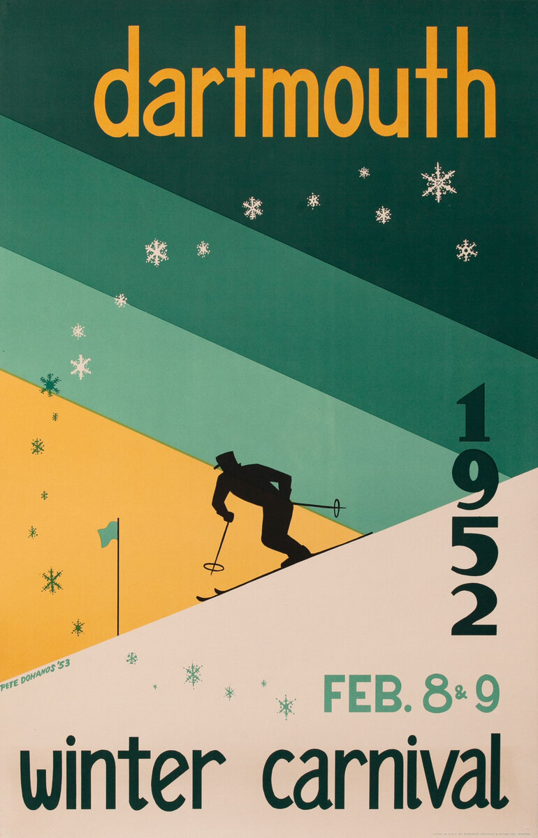 Dartmouth Winter Carnival, Feb. 8-9, 1952 Original Ski Poster