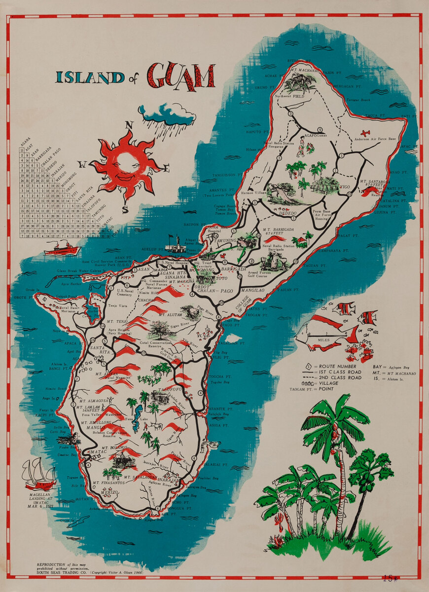 Island of Guam Travel Map Poster