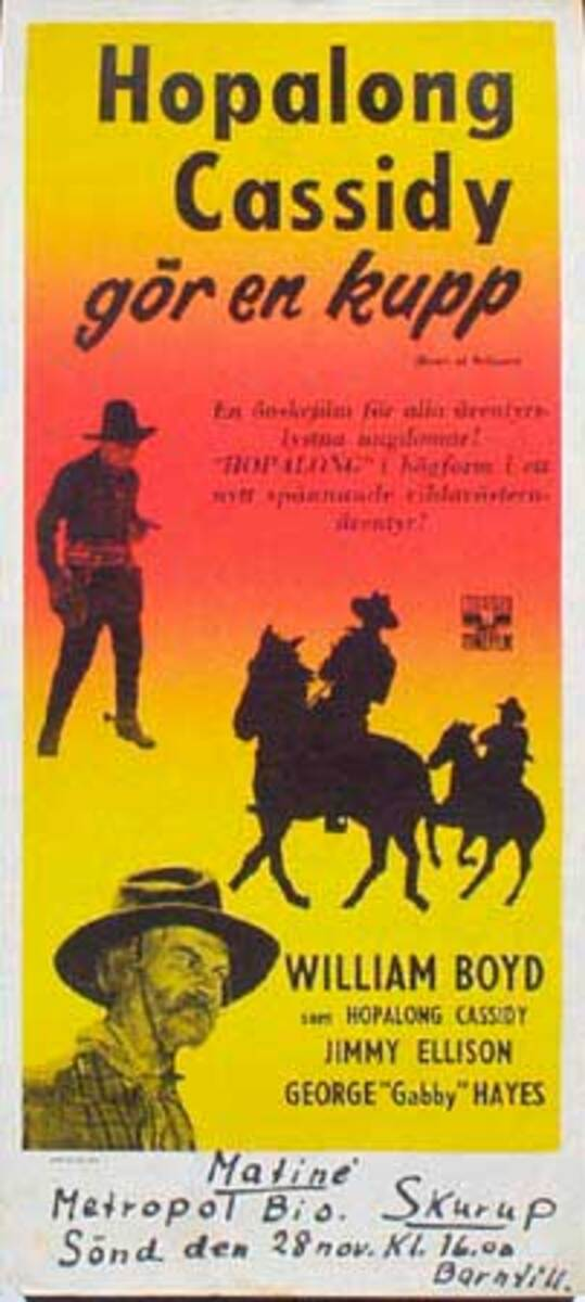 Hopalong Cassisdy Heart Of Arizona Original Vintage Movie Poster Swedish Release