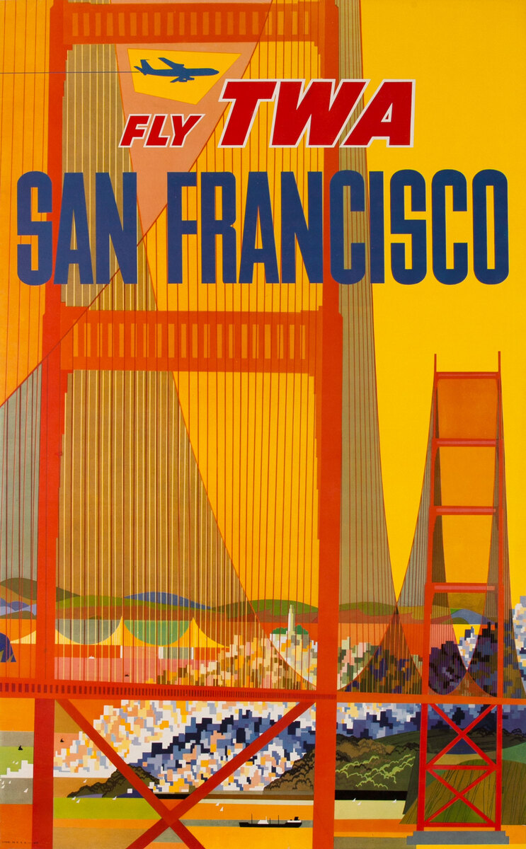 Fly TWA San Francisco Golden Gate Bridge