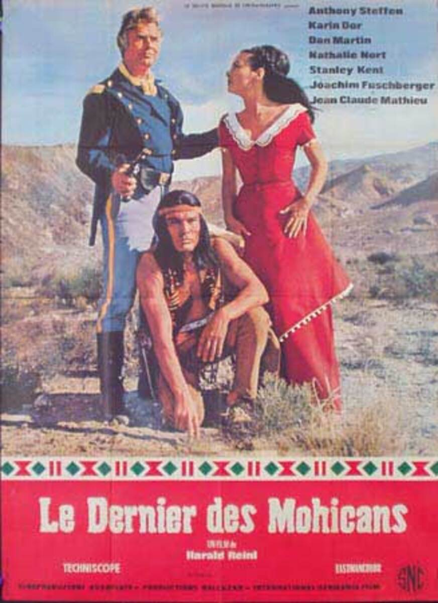 Last of the Mohicans Original Vintage Movie Poster French Release