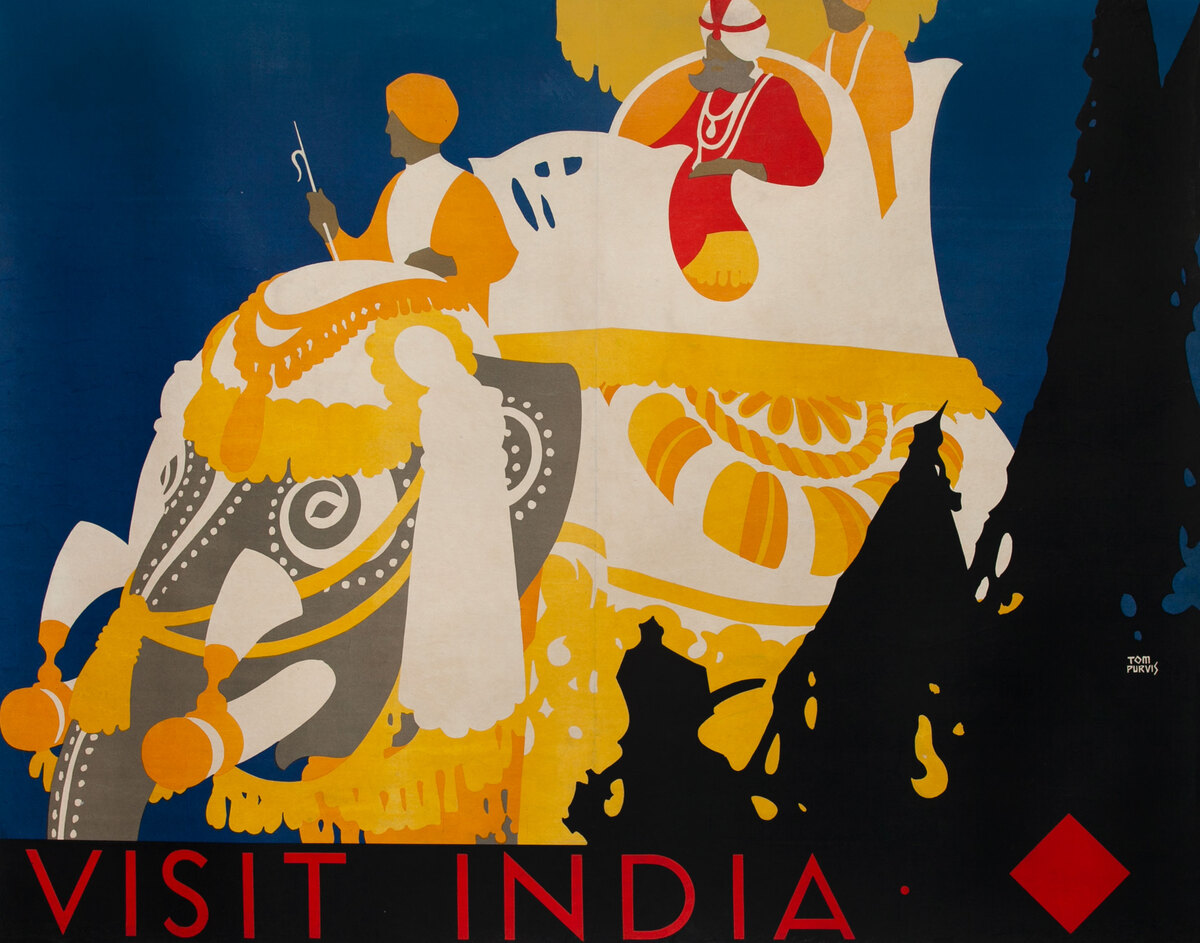 Visit India Travel Poster Elephant with saffron clothes