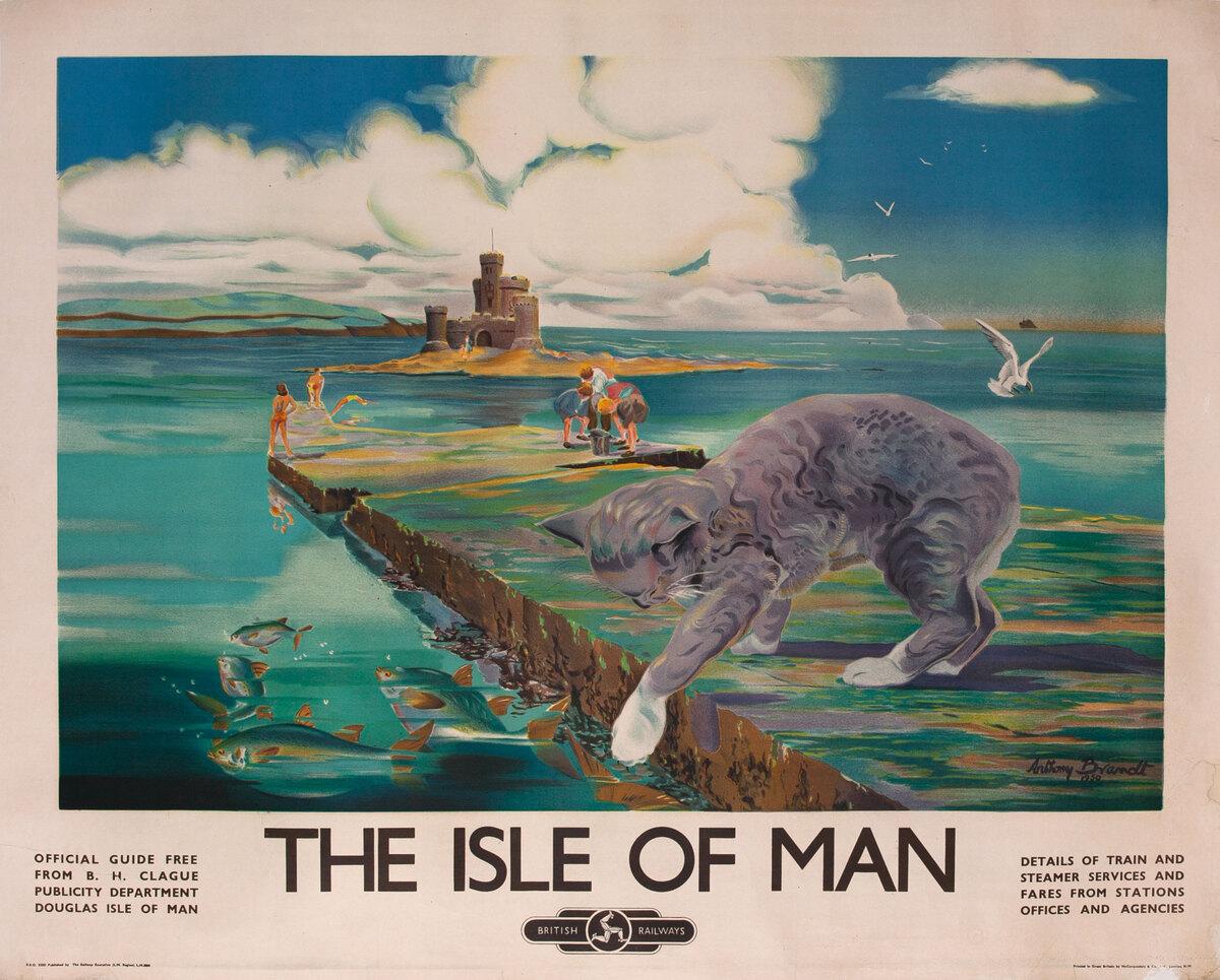 The Isle of Man, British Railways Travel Poster Manx Cat