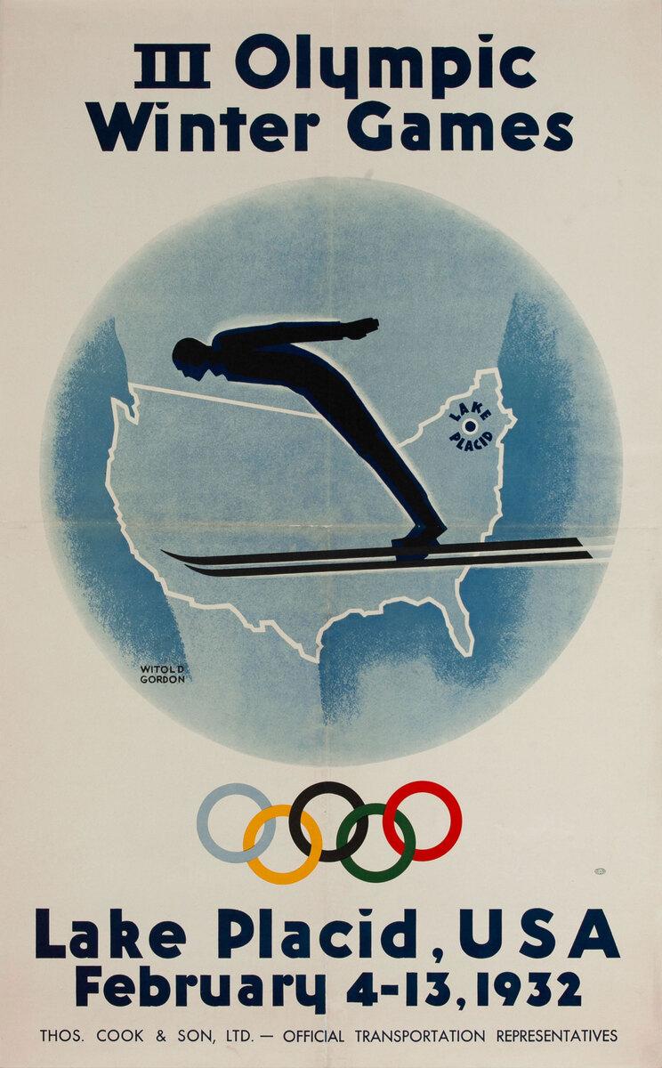 1932 Lake Placid Olympics Ski Jump Poster
