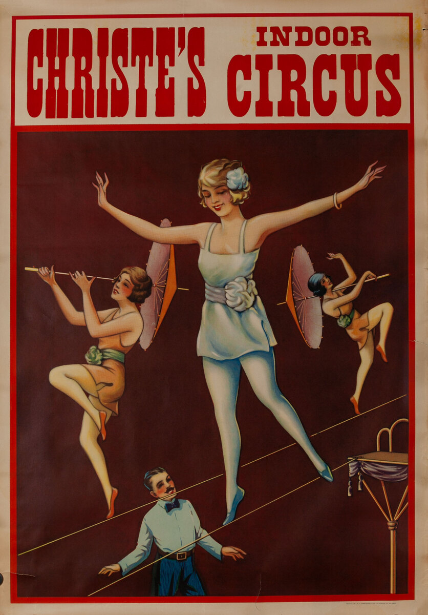 Christie's Indoor Circus Poster 3 girl high wire act