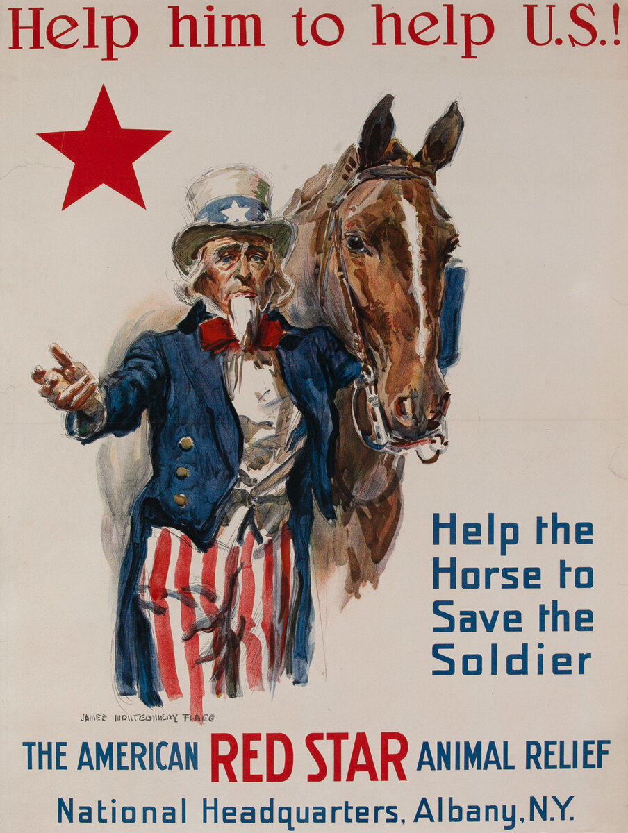 Help him to help U.S.! WWI American Red Star Animal Relief Poster